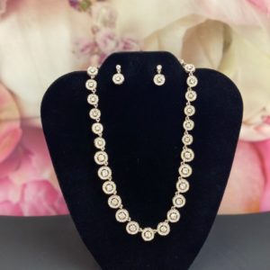 photo of Circles Cubic Zirconia necklace & earring set 536S on shopiowa.com