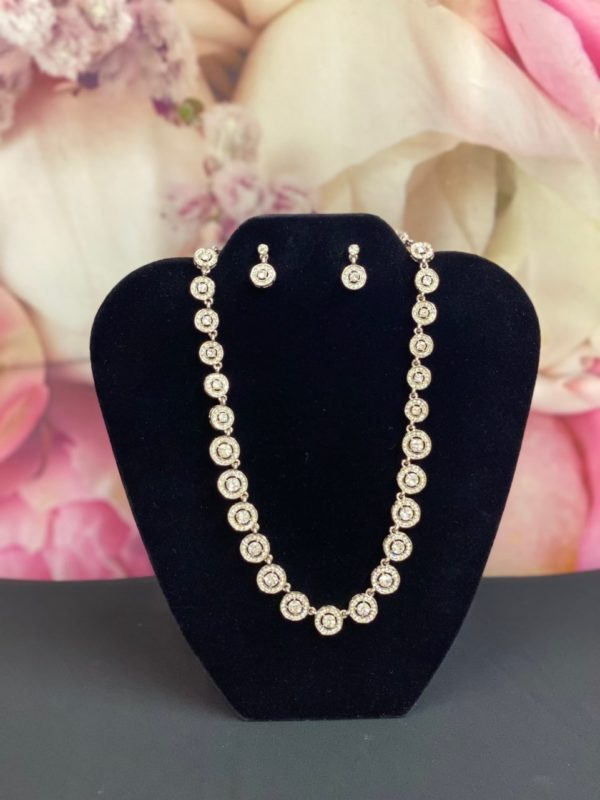 Circles Cubic Zirconia necklace & earring set 536S