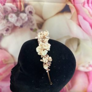 Rose Gold Headband with flowers and jewels HP2898