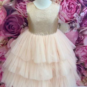 Metallic Bodice Rose Gold Flower Girl Dress 5790 on shopiowa.com