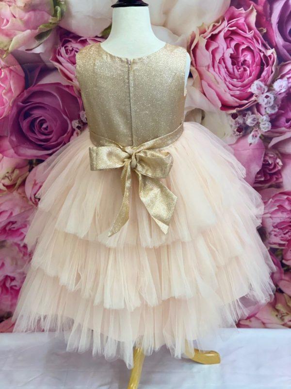 Metallic Bodice Rose Gold Flower Girl Dress 5790