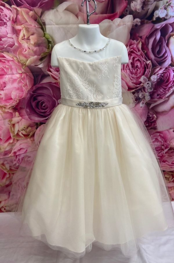 photo of Champagne Flower Girl Dress with Tulle skirt 5712 on shopiowa.com