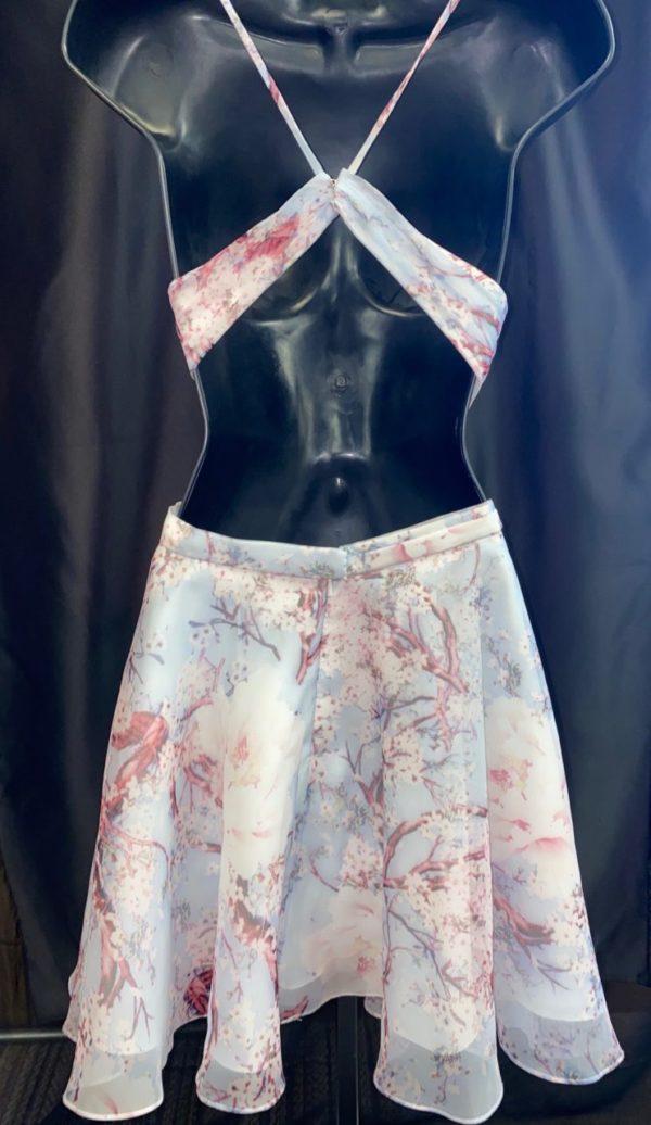 Alyce Floral V-Neck Homecoming Dress 3868