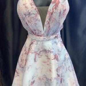 Alyce Floral V-Neck Homecoming Dress 3868 on shopiowa.com