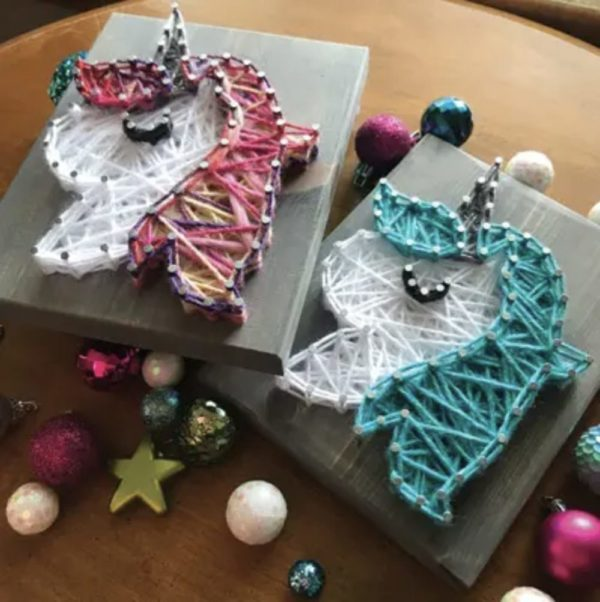Unicorn (Teal) Mini String Art Kit – DIY