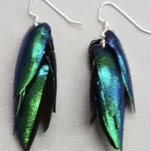 Emerald Beetle Wing Earrings