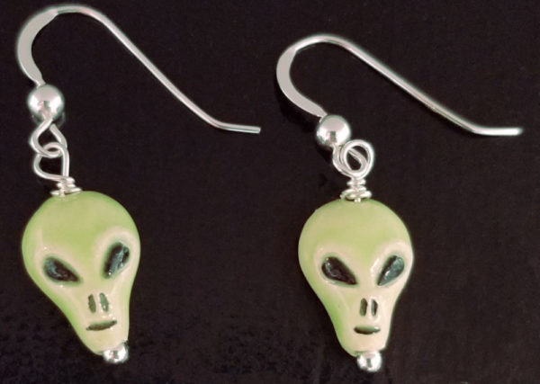Alien head green ceramic and sterling silver handmade dangle earrings