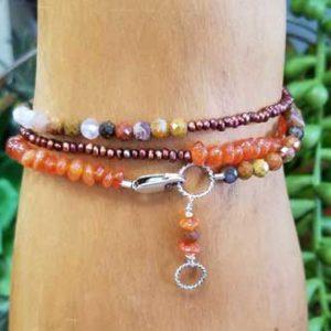 Agua Nueva Agate, Carnelian, Pearl Wrap Bracelet/Necklace