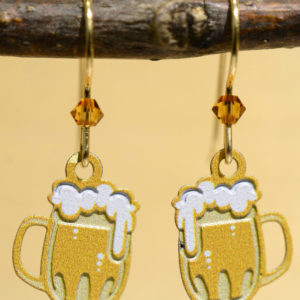 beer mug dangle earrings