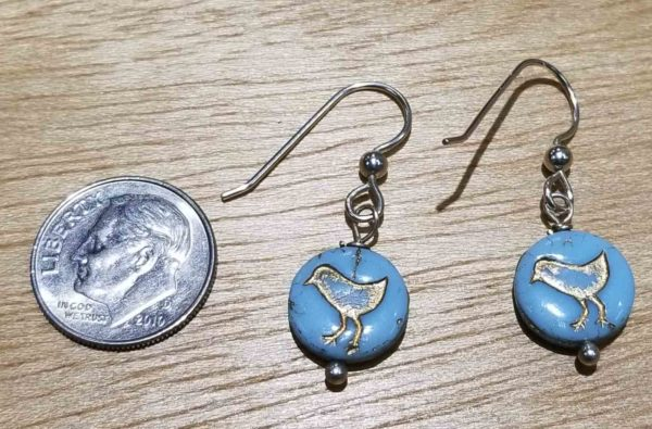 dime for scale with blue bird earrings