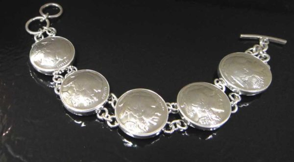 real coin buffalo nickel and sterling silver bracelet