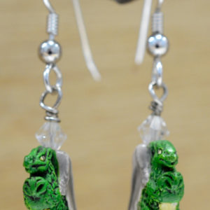 Dragon ceramic and sterling silver handmade dangle earrings
