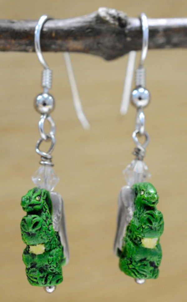 dragon earrings with sterling silver ear wires