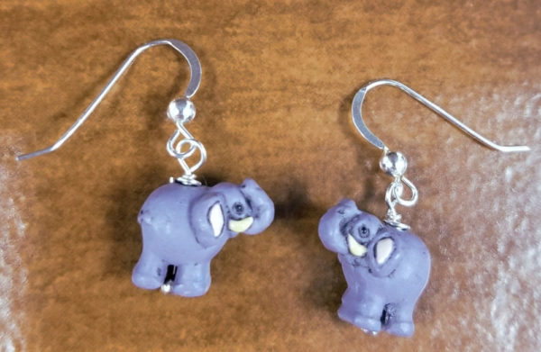 elephant and sterling silver earrings