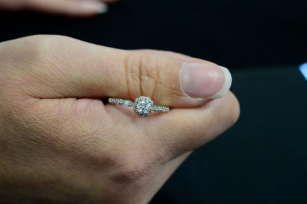 diamond and 14K white gold engagement ring