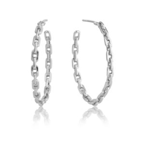 Ania Haie Silver Chain Hoop Earrings