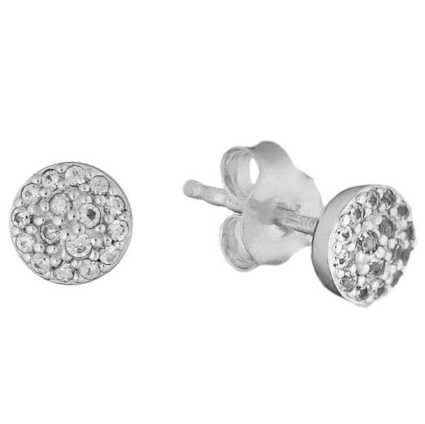 Bentelli Sterling Silver and White Sapphire Cluster Earrings