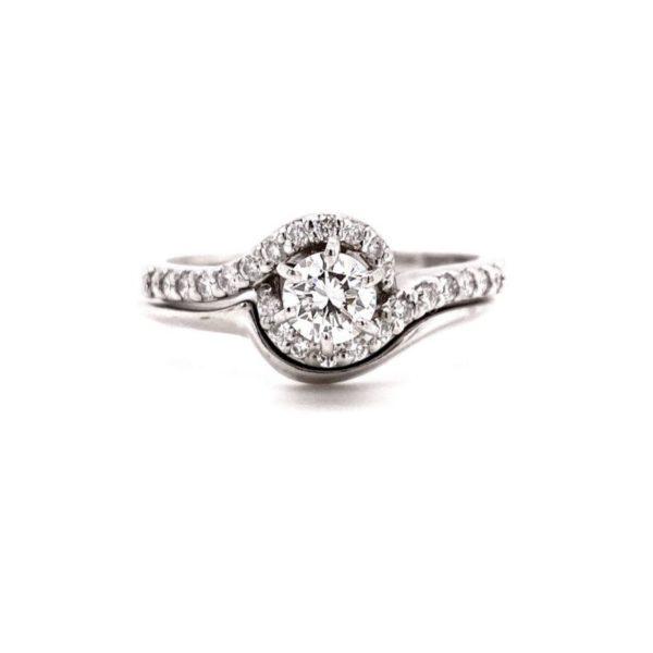 14K White Gold and Diamond Circle Engagement Ring and Wedding Band Set