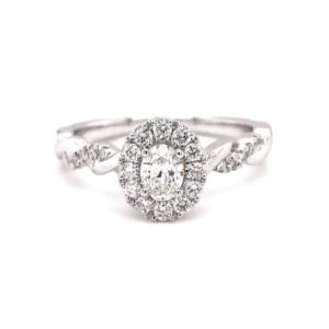 14K White Gold Twist Shank and Halo Oval Diamond Engagement Ring