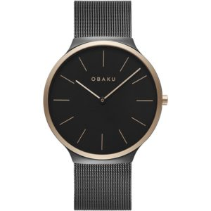 Obaku Ark Night Rose Gold and Black Stainless Steel Men's Watch