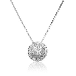 Bentelli Sterling Silver and White Sapphire Cluster Necklace