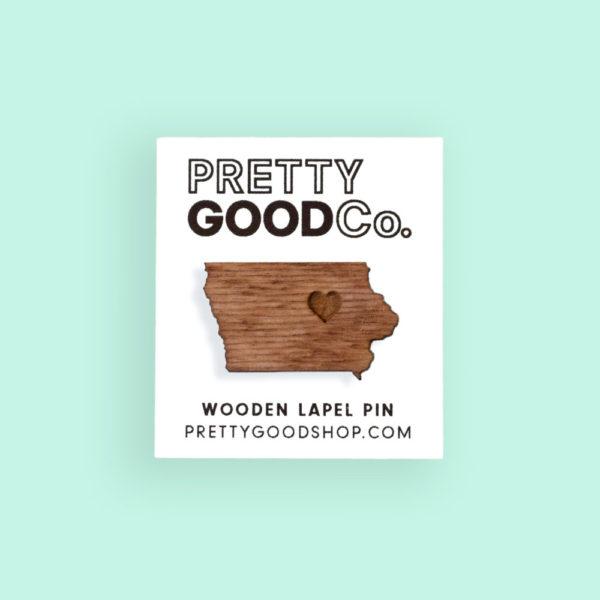 Photo of Iowa Wooden Lapel Pin on ShopIowa.com