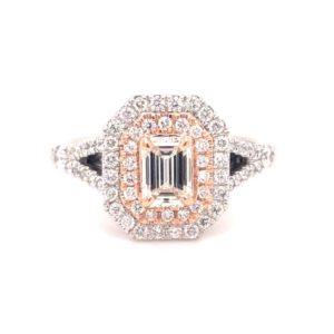14K Rose & White Gold Double Halo Diamond Engagement Ring