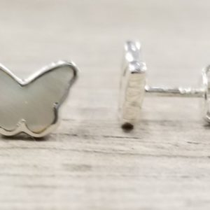 white mother of pearl shell and sterling silver petite butterfly post earrings