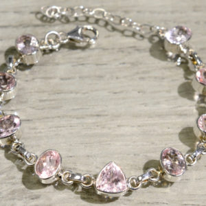 pale pink morganite gemstone and sterling silver bracelet