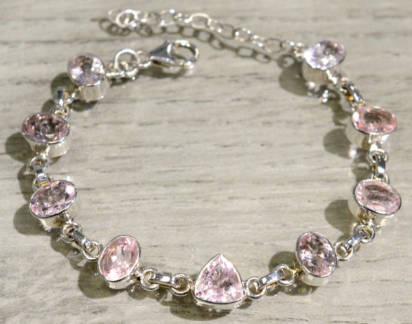 Faceted Pink Morganite Gemstone + .925 Sterling Silver Bracelet