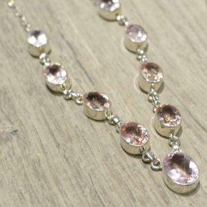 Faceted Pink MORGANITE Gemstone + .925 Sterling Silver Handmade Necklace