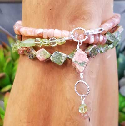 Peridot, Unakite, Peach Moonstone Wrap Bracelet/Necklace