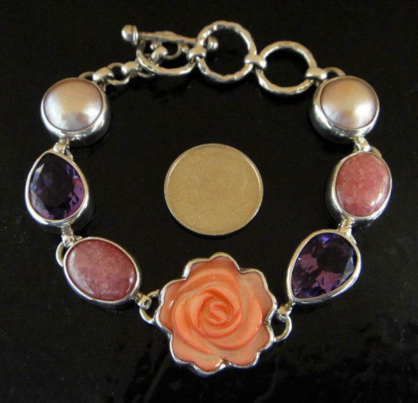 Bracelet-Carved Pink Shell Rose, Amethyst, Pearl, and Sterling Silver