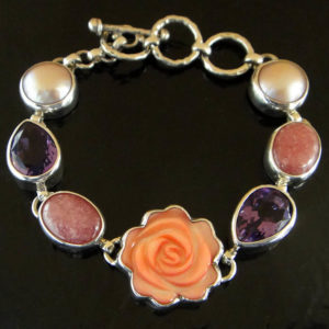 Pink mother of pearl carved rose bracelet with amethyst, pearl, and rhodochrosite in sterling silver