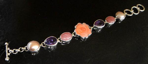carved pink mother of pearl rose bracelet