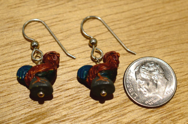 Ceramic Rooster and sterling silver handmade dangle earrings