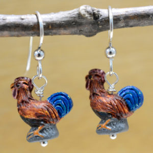 handmade ceramic rooster and sterling silver earrings