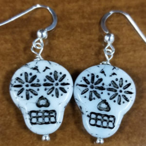 Sugar skull Czech glass handmade sterling silver earrings