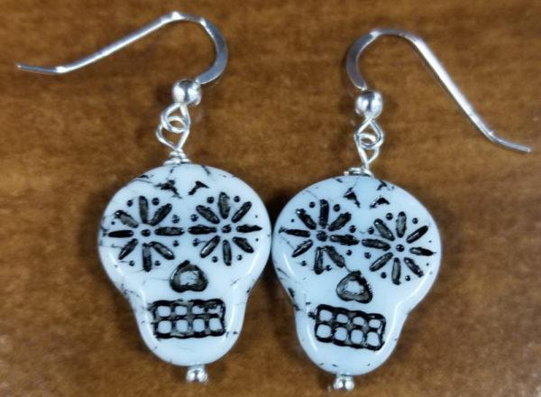 Sugar skull Czech glass handmade sterling silver earrings