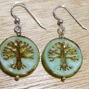 Tree of Life Czech glass and sterling silver handmade beaded earrings