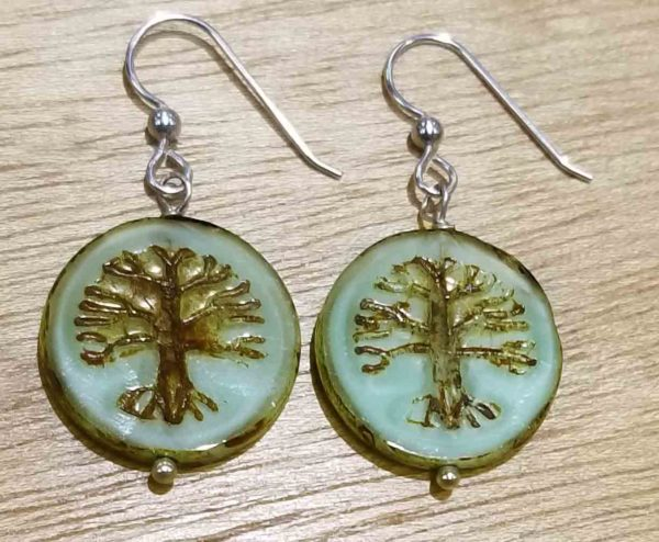 handmade Czech glass light green tree earrings