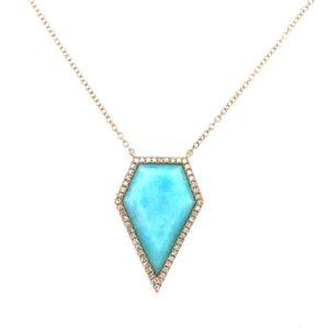14K Gold Arizona Turquoise and Diamond Necklace