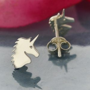 sterling silver petite unicorn post earrings