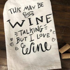 """I Love Wine"" Dish towel on shopiowa.com"