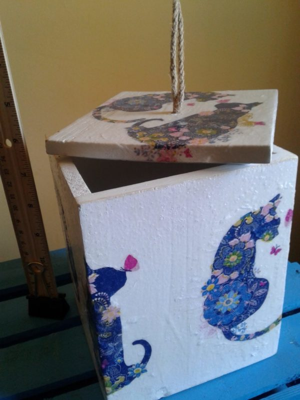 Decorative Wooden Box for Cat Lovers