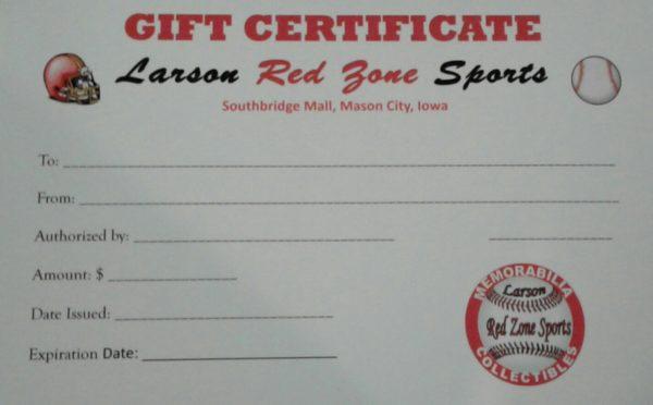 Larson Red Zone Sports Gift Certificate on shopiowa.com