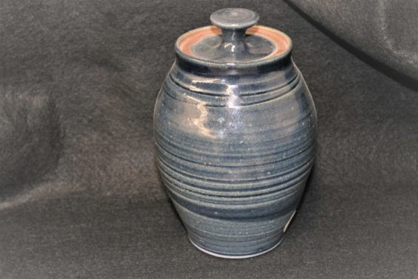 Vocered Blue Jar Pottery with Lid by Henry Serenco