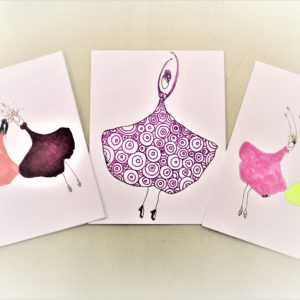 Handmade Gingko Gals Greeting Cards -Set of 3