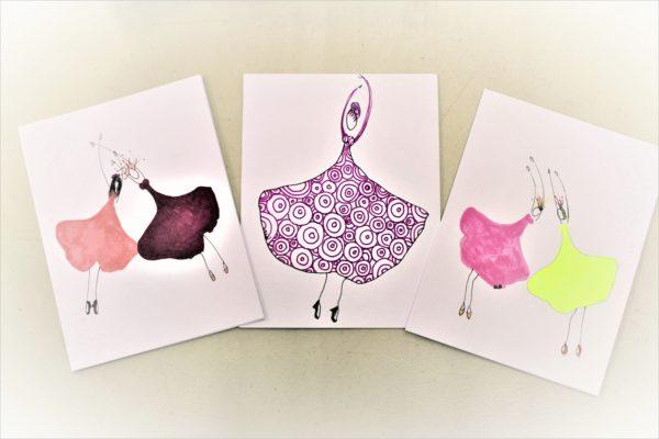 Handmade Gingko Gals Greeting Cards -Set of 3