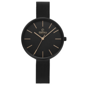 Obaku Denmark Ladies 'Mynte Charcoal' and Rose Gold Watch